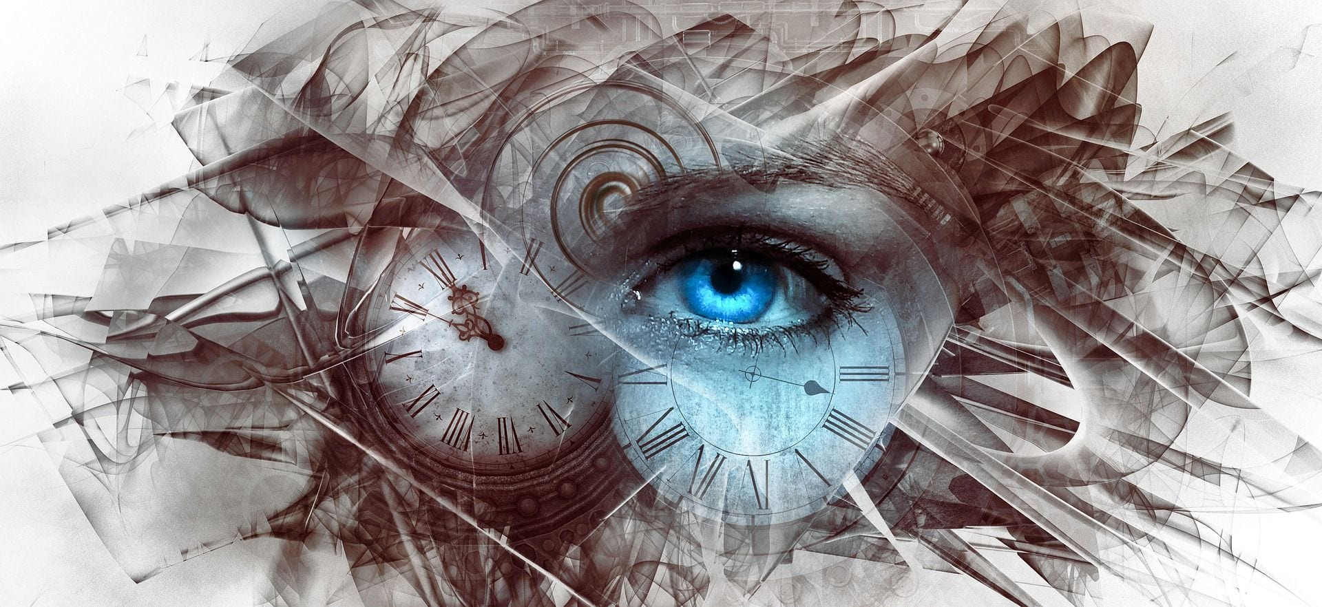 Abstract art depicting a human eye in the center of distorted clocks inferring a link to the alter conscious state of mind.