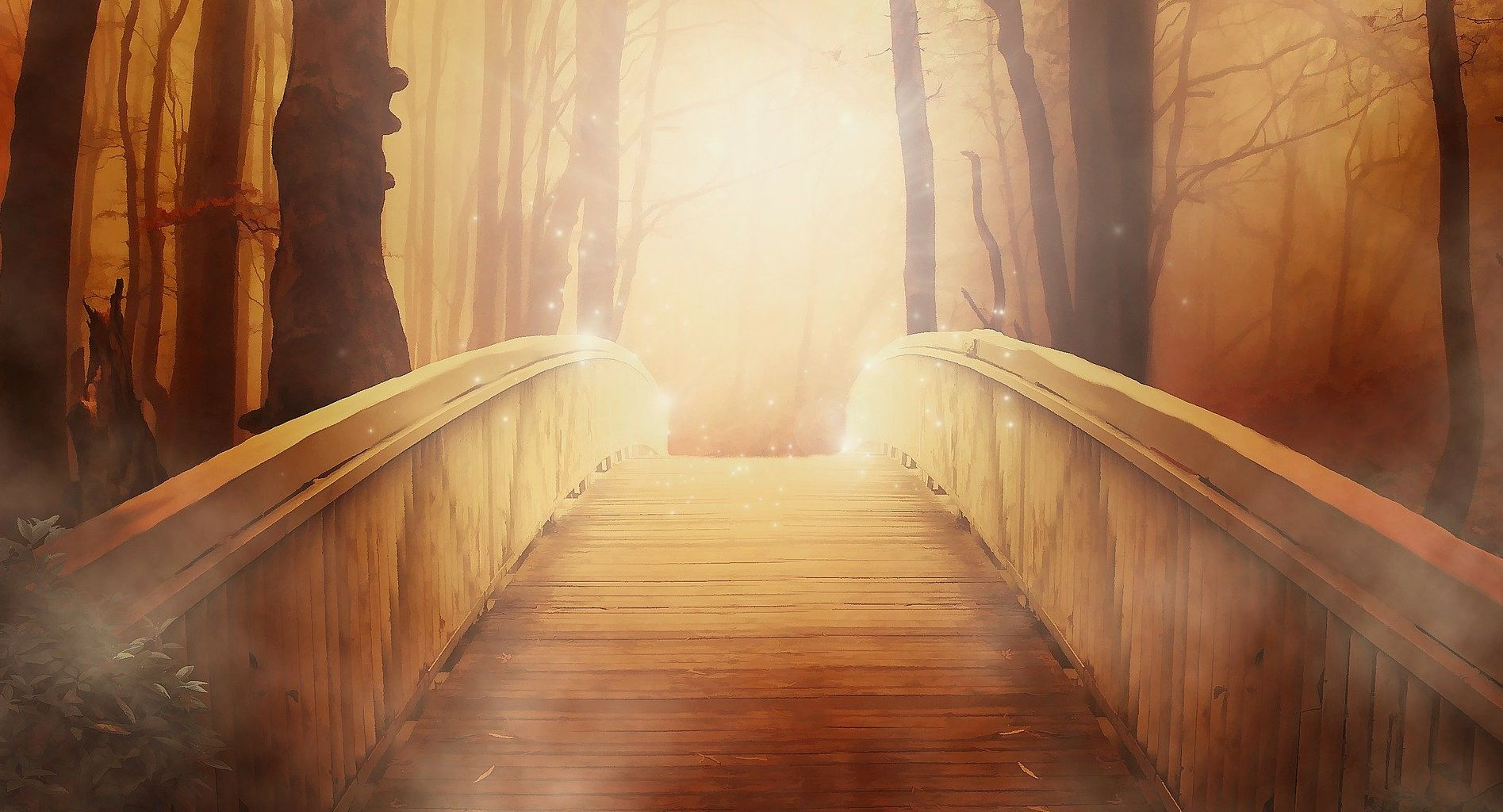 A wooden bridge illuminated at the end.